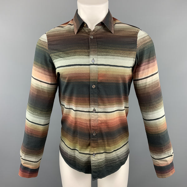PAUL SMITH Size S Stripe Multi-Color Cotton Button Up Long Sleeve Shirt