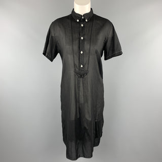 COMME des GARCONS Size M Black Sheer Cotton Contrast Stitch Oversized Shirt Dress