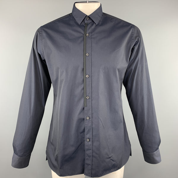 LANVIN Size L Navy Cotton Button Up Long Sleeve Shirt