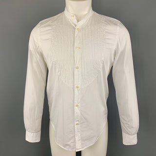 OFFICINE GENERALE Size S White Cotton Nehru Collar Long Sleeve Shirt