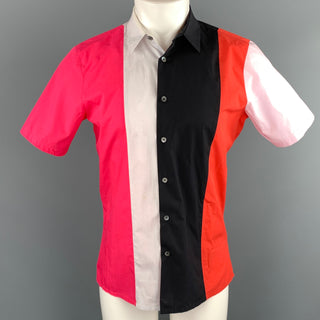 RAF SIMONS Size S Multi-Color Color Block Cotton Button Up Short Sleeve Shirt