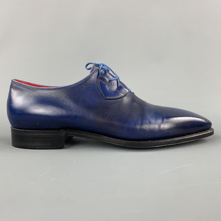CORTHAY Size 9.5 Blue Antique Leather Lace Up Dress Shoe