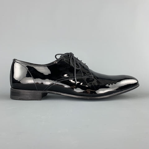 PRADA Size 9.5 Black Patent Leather  Lace Up Dress Shoes
