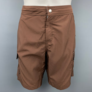BRUNELLO CUCINELLI Size 34 Brown Polyester Cargo Swim Trunks