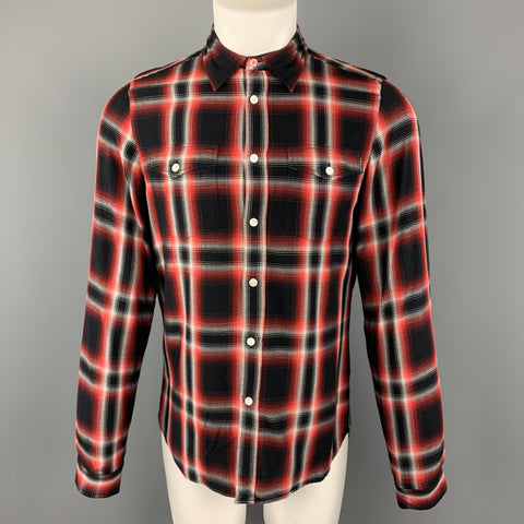 PS by PAUL SMITH Size M Red & Black Plaid Rayon Button Up Patch Pockets Contrast Back Long Sleeve Shirt