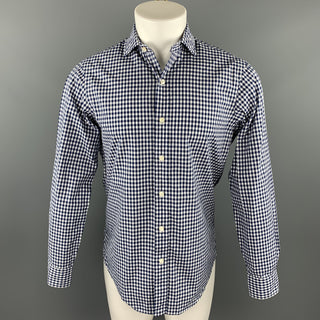 RALPH LAUREN Size S Navy & White Checkered Cotton Button Up Long Sleeve Shirt