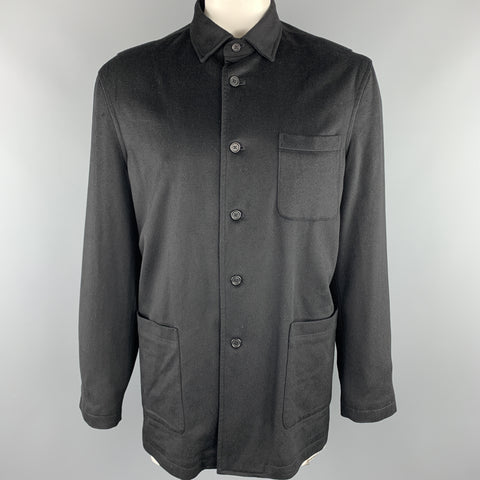 FACONNABLE Size L Black Wool Buttoned Jacket