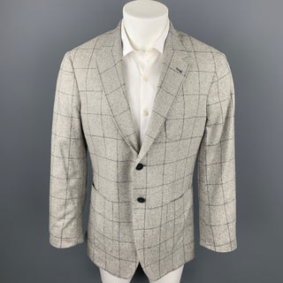 PAUL SMITH The Westbourne Size 40 Regular Grey Window Pane Silk Notch Lapel Sport Coat