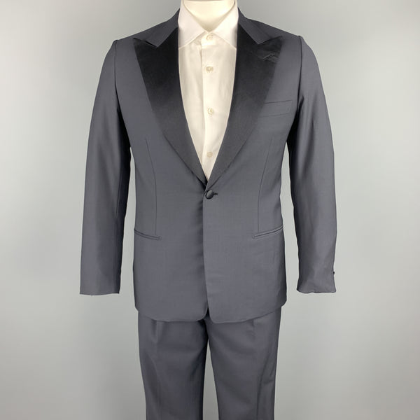 BRIONI Size 40 Regular Navy Solid Wool Peak Lapel Tuxedo