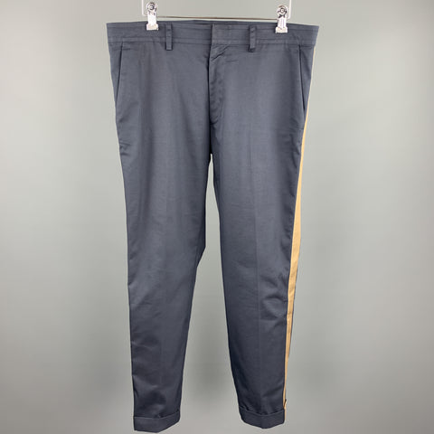 VALENTINO Size 32 Navy Cotton / Polyamide Zip Fly Casual Pants
