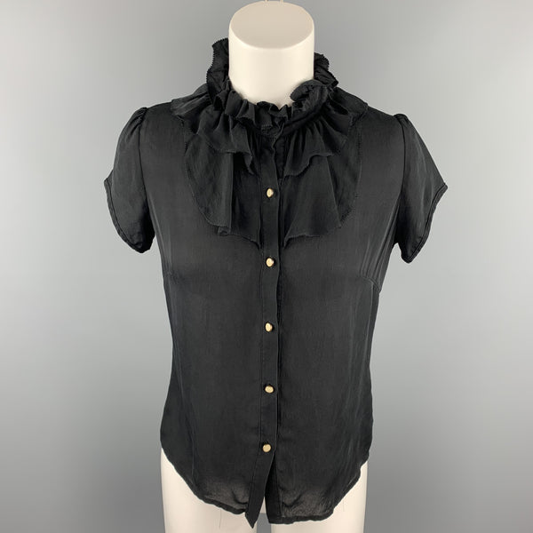 BARNEYS NEW YORK Size 2 Black Silk Ruffle Blouse