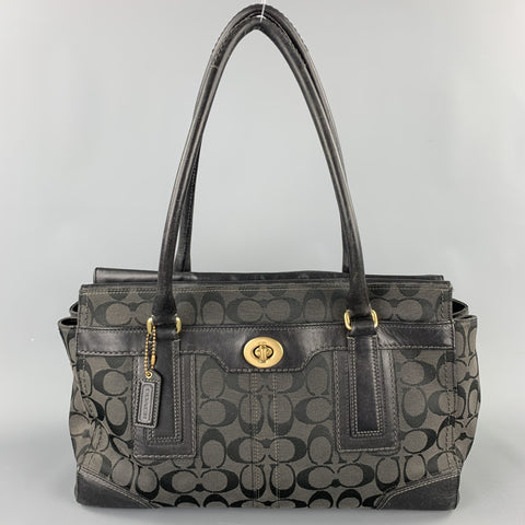COACH Black Monogram Canvas Top Handles Handbag