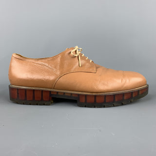 ROBERT CLERGERIE Size 11 Tan  Leather Lace Up See Through Sole Shoes
