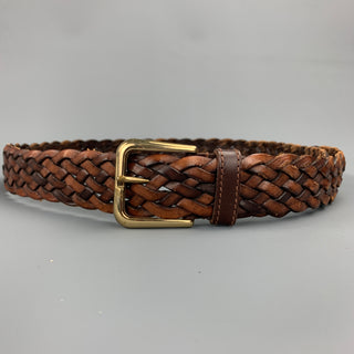 MCM Size 38 Brown Barided Leather Belt