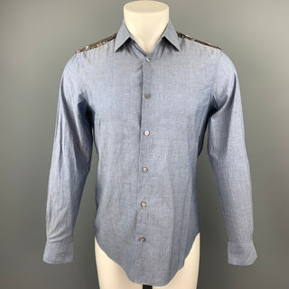 PAUL SMITH Size S Blue Sequined Cotton Button Up Long Sleeve Shirt