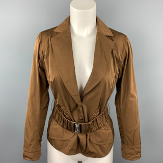 LIDA BADAY Size 8 Brown Polyester Notch Lapel Belted Jacket