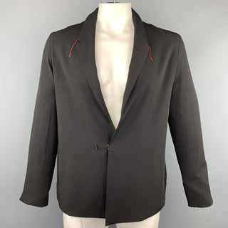 M.A+ Chest Size L Black Solid Cotton Hook & Eye Closure Jacket