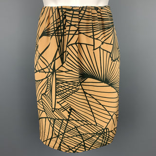 DRIES VAN NOTEN Size 4 Gold & Black Silk Print A-Line Skirt