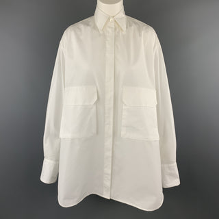 DEVEAUX New York Size 4 White Cotton Oversized MAX SHIRT Pocket Blouse