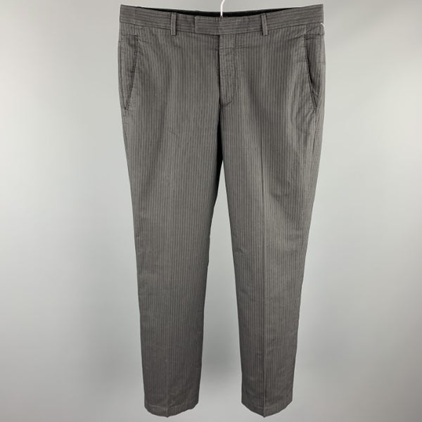 JOHN VARVATOS Size 30 Dark Gray Stripe Cotton Zip Fly Dress Pants