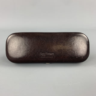 SAGEBROWN Dark Brown Leather Logo Embossed Eyewear Case