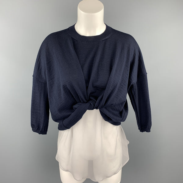 COMME des GARCONS Size S Navy Wool Silk Slip Short Sleeve Pullover
