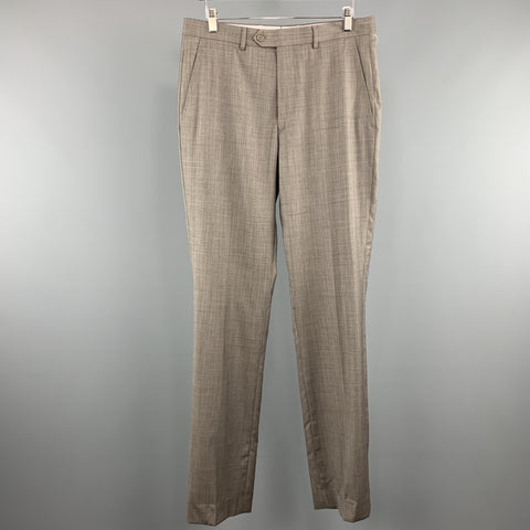 SANTORELLI Size 33 x 35 Taupe Grid Wool Zip Fly Dress Pants