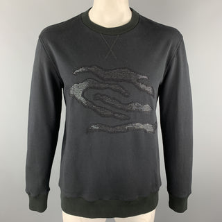 LANVIN Size L Black Beaded Embellishment Cotton Crewneck Sweatshirt