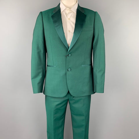 PAUL SMITH Soho Fit Size 40 Regular Green Wool / Mohair Notch Lapel Tuxedo Suit