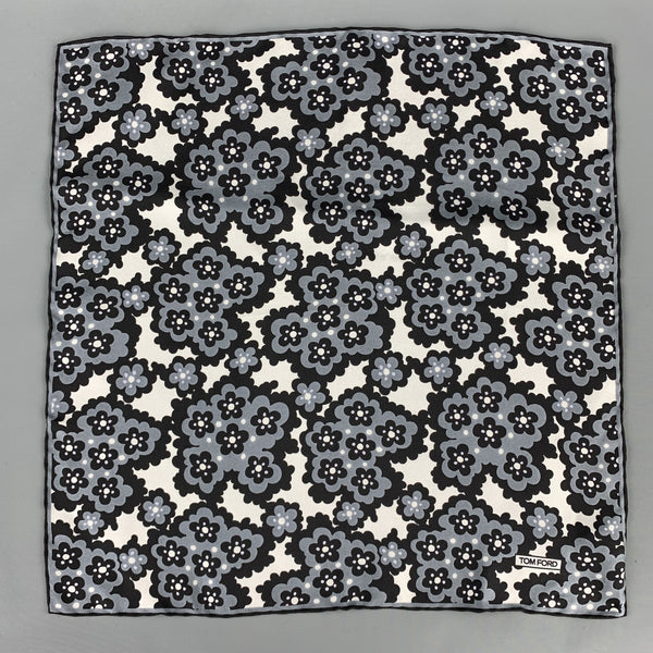 TOM FORD Black & Grey Print Silk Pocket Square