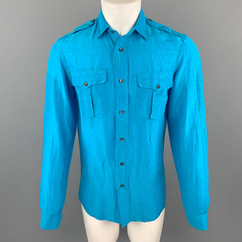 RALPH LAUREN Size S Aqua Linen / Silk Button Up Long Sleeve Shirt