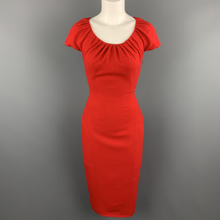REEM ACRA Size 4 Red Silk Crepe Ruched Collar Lace Back Sheath Dress