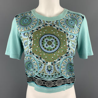 ETRO Size 6 Mint Blue Cotton Knit Silk Scarf Front Pullover