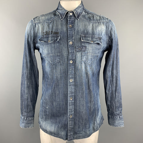 G-STAR Size L Indigo Wash Cotton Patch Pockets Long Sleeve Shirt