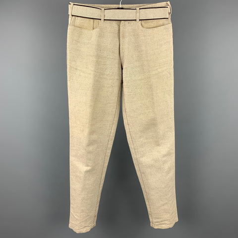 PRADA Size 32 Beige & Black Woven Cotton / Linen Belted Casual Pants