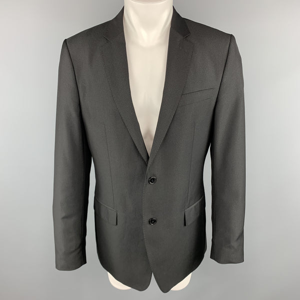 VERSACE COLLECTION Size 42 Grid Black on Black Notch Lapel Sport Coat