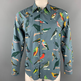 PAUL SMITH Size L Grey Bird Print Cotton Button Up Long Sleeve Shirt