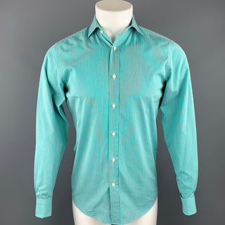 RALPH LAUREN Black Label Size S Teal Stripe Cotton Button Up Long Sleeve Shirt