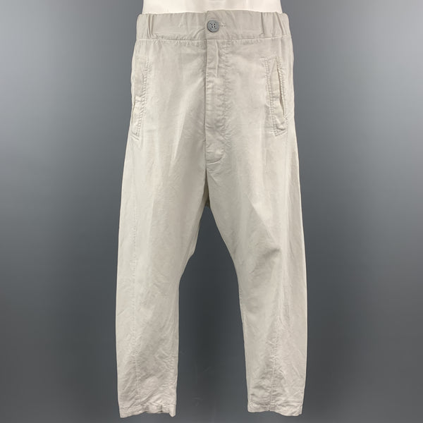 10 SEIOOTTO Size M Off White Solid Linen / Cotton Zip Fly Casual Pants