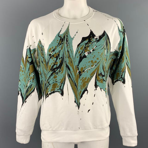 DRIES VAN NOTEN F/W 18 Size L White Ebru Marble Print Cotton Crew-Neck Sweatshirt