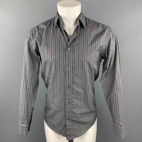 DIOR HOMME Size S Grey Stripe Cotton Button Up Long Sleeve Shirt