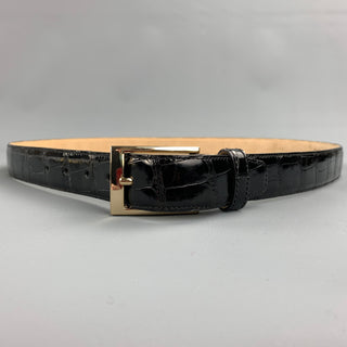 TARDINI Size 40 Black Textured Alligator Belt