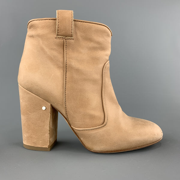 LAURENCE DACADE Size 6.5 Tan Leather Chunky Heel Ankle Boots