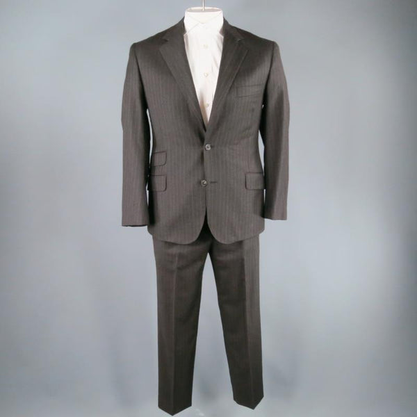 HERMES 42 Regular Charcoal Pinstriped Wool 2 Button 3 Flap Pocket Suit