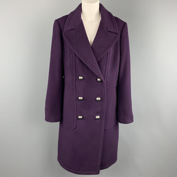 ELIE TAHARI Size L Purple Wool Blend Double Breasted Metal Button Coat