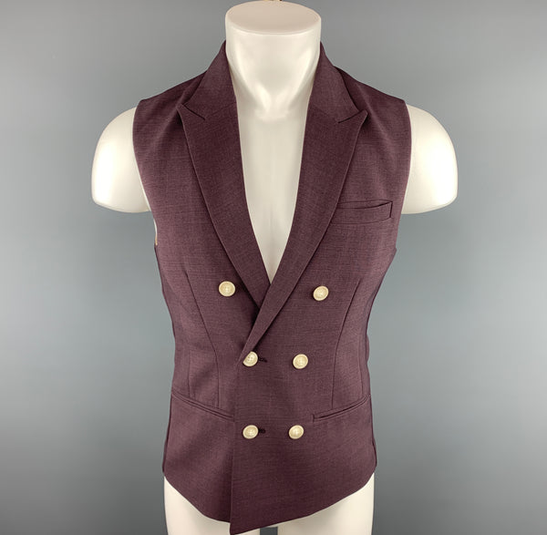 INITIAL Size XS Eggplant Solid Polyester Blend Vest