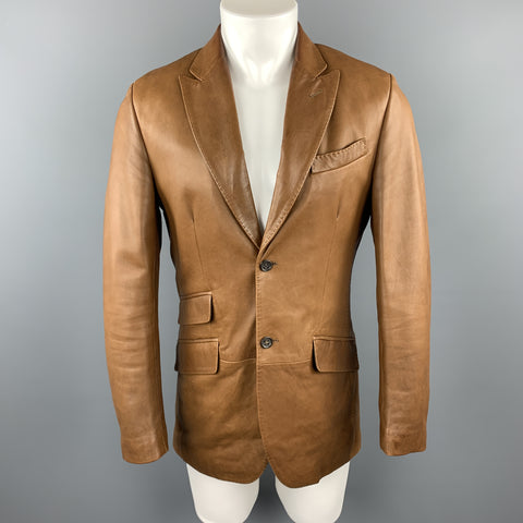 BANANA REPUBLIC Size 38 Brown Leather Peak Lapel Flap Pockets Sport Coat