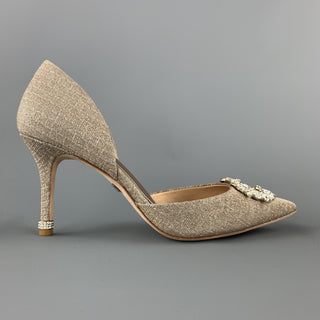 BADGLEY MISCHKA Size 8 Silver Metallic Beige Fabric Rhinestone Buckle D'orsay Pumps