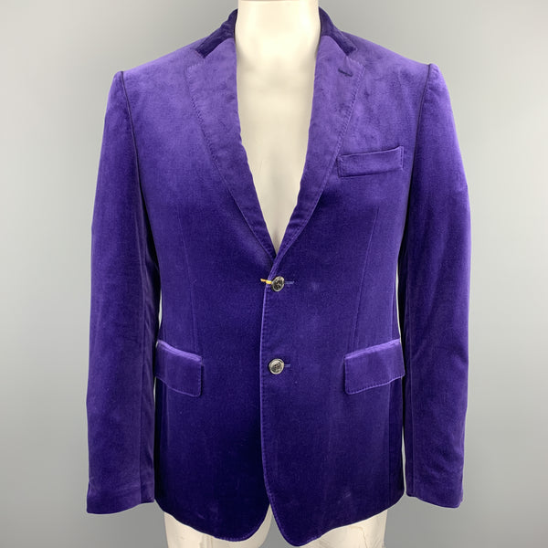 ETRO Size 40 Purple Solid Velvet Notch Lapel Sport Coat