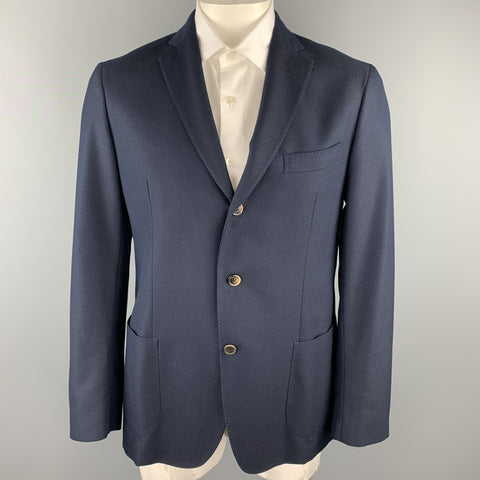 SAKS FIFTH AVENUE Chest Size 44 Navy Textured Cotton / Wool Sport Coat